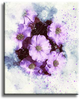 Purple Flowers Picture on Stretched Canvas, Wall Art Décor, Ready to Hang