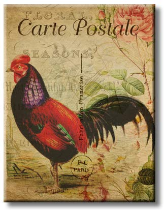 Rooster Postcard, Picture on Streched Canvas, Wall Art Décor, Ready to Hang