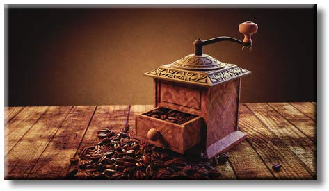 Traditional Kitchen Coffee Mill Grinder Contemporary Picture on Stretched Canvas, Wall Art Décor, Ready to Hang