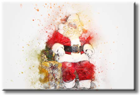 Santa Claus Sitting on His Chair Picture on Stretched Canvas, Wall Art Décor, Ready to Hang