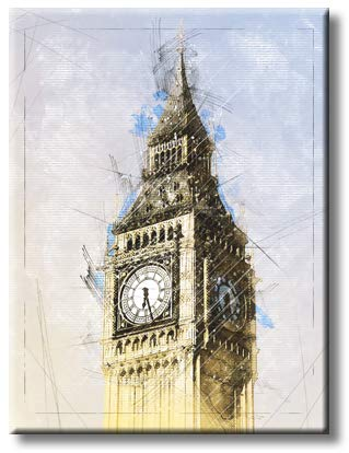 Big Ben Clock, Picture on Stretched Canvas, Wall Art Décor, Rredy to Hang
