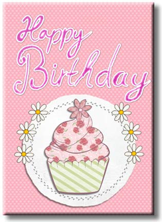 Happy Birthday Cupcake Picture on Stretched Canvas, Wall Art Décor, Ready to Hang