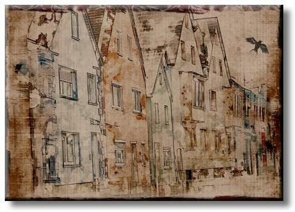 Vintage Neighborhood Art Picture on Stretched Canvas, Wall Art Décor, Ready to Hang
