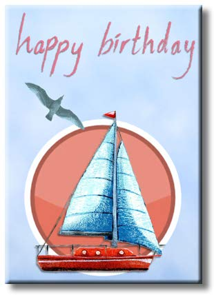 Happy Birthday Boat Picture on Stretched Canvas, Wall Art Décor, Ready to Hang