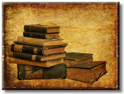 Stack of Vintage Books with Eyeglasses Picture on Stretched Canvas, Wall Art Décor, Ready to Hang
