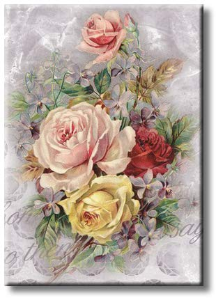 Roses Floral Picture on Stretched Canvas, Wall Art Décor, Ready to Hang