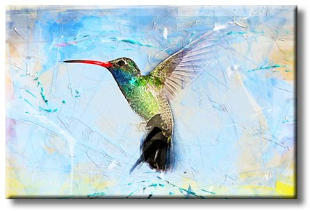 Beautiful Watercolor Hummingbird Mordern Art Picture on Stretched Canvas, Wall Art Décor, Ready to Hang