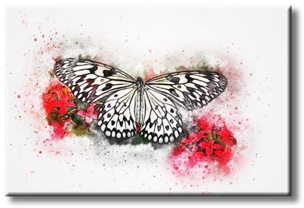 Beautiful Butterfly and Flower Inspirational Decorative Picture on Stretched Canvas, Wall Art Décor, Ready to Hang