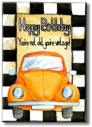 Vintage Car Happy Birthday Picture on Stretched Canvas, Wall Art Decor, Ready to Hang