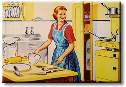 Retro Kitchen Art, Picture on Streched Canvas, Wall Art Decor, Ready to Hang
