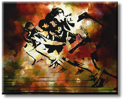 Olympic Sport Play Run Modern Art Picture on Stretched Canvas, Wall Art Décor, Ready to Hang
