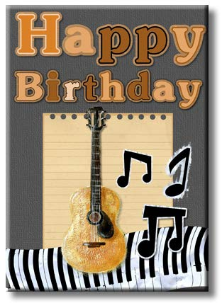 Happy Birthday Guitar Picture on Stretched Canvas, Wall Art Décor, Ready to Hang