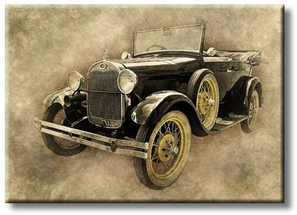 Vintage Car Art Picture on Stretched Canvas, Wall Art Décor, Ready to Hang