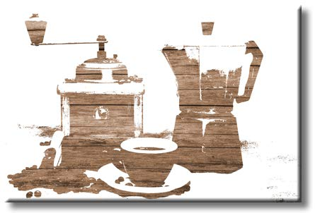 Coffee Pot Maker with Coffee Cup Kitchen Posters on Stretched Canvas, Wall Art Décor, Ready to Hang, Coffee Lovers