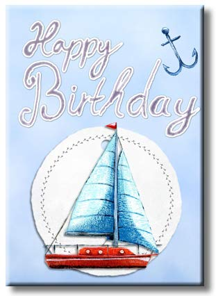 Happy Birthday Sailboat Picture on Stretched Canvas, Wall Art Décor, Ready to Hang