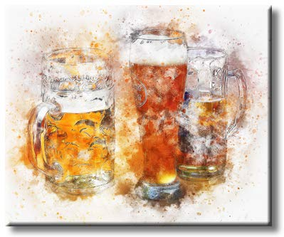Beer Mug and Glasses Party with Lot of Foam Picture on Stretched Canvas, Wall Art Décor, Ready to Hang
