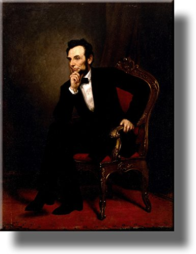 Abraham Lincoln Sitting Portrait Picture by Healy on Stretched Canvas, Wall Art Décor, Ready to Hang!