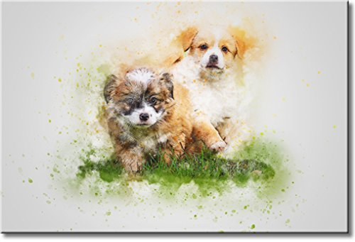 Puppies in Grass Picture on Stretched Canvas, Wall Art Décor, Ready to Hang
