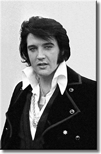 Elvis Presley, King of Rock, Black and White Picture on Stretched Canvas, Wall Art Décor, Ready to Hang
