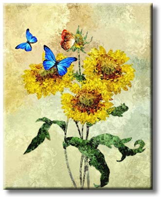 Butterfly On Yellow Flowers Nature Picture on Stretched Canvas, Wall Art Décor, Ready to Hang