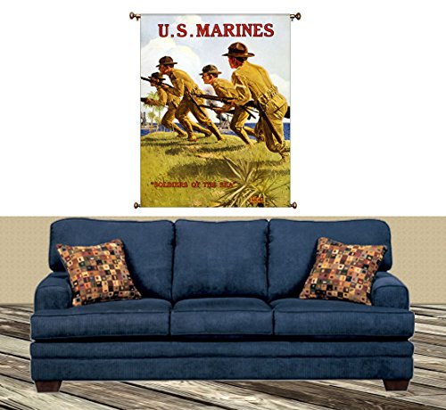 Soldiers of the Sea, US Marines Picture on Large Canvas Hung on Copper Rod. Ready to Hang, Wall Art Décor
