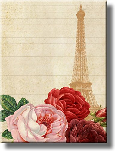 Eiffel Tower Paris and Roses Picture on Stretched Canvas, Wall Art Decor, Ready to Hang