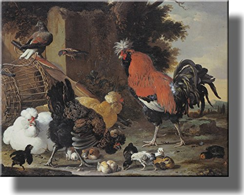 A Rooster and a Hen with Chicks by Melchior de Hondecoeter on Stretched Canvas, Wall Art Decor Ready to Hang!.