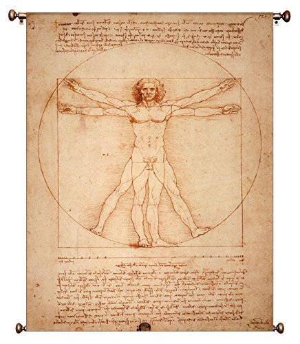 Vitruvian Man by Leonardo da Vinci Picture on Large Canvas Hung on Copper Rod, Ready to Hang, Wall Art Décor