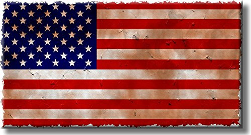 Vintage American Flag Yellow Antique Picture on Stretched Canvas, Wall Art Décor, Ready to Hang!