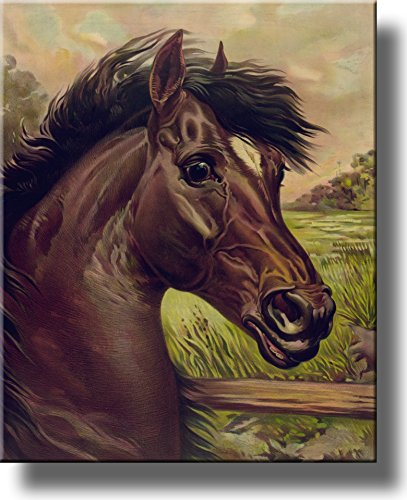 Vintage Painting of Black Horse Picture on Stretched Canvas, Wall Art Decor Ready to Hang!.