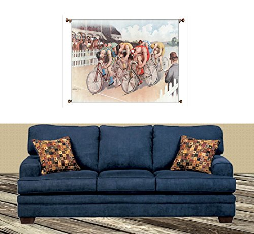 Bicycle Race Vintage Picture on Large Canvas Hung on Copper Rod, Ready to Hang, Wall Art Decor
