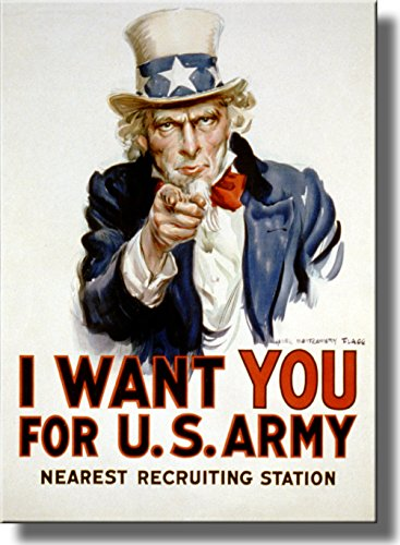 I Want You for U.S. Army Picture on Stretched Canvas, Wall Art Décor, Ready to Hang!