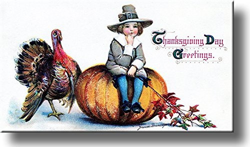 Thanksgiving Day Greeting by Frances Brundage Picture on Stretched Canvas, Wall Art Décor, Ready to Hang!