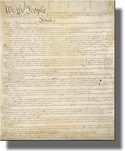 Original Written Constitution Picture on Stretched Canvas, Wall Art Décor, Ready to Hang!