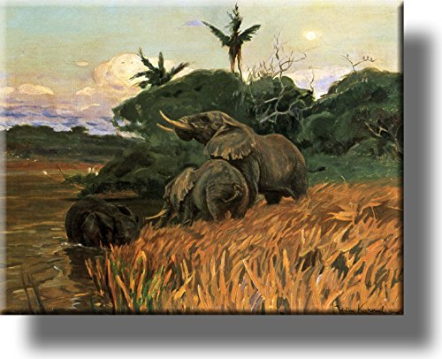 A Herd of Elephants by Kuhnert Picture on Stretched Canvas, Wall Art Décor, Ready to Hang!