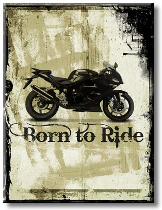 Lovely Motorcycle with Born to Ride Theme Picture on Stretched Canvas, Wall Art Décor, Ready to Hang