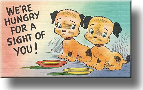 "Two Adorable Puppies ""Hungry for a Sight of You"" Picture on Stretched Canvas, Wall Art Décor, Ready to Hang!"