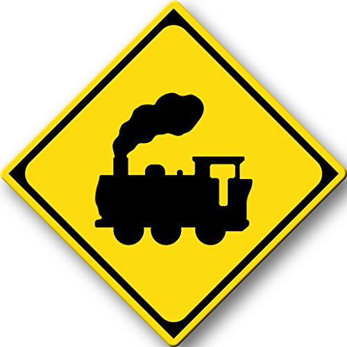Train Road Sign Picture on Stretched Canvas, Wall Art Décor, Ready to Hang!