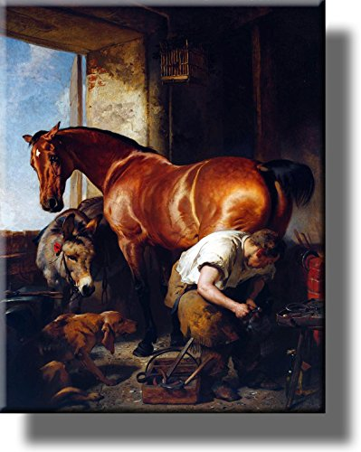 Blacksmith Shoeing Horse, Horseshoer Picture on Stretched Canvas, Wall Art Décor, Ready to Hang!