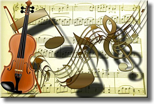 Music Notes Violin Picture on Stretched Canvas, Wall Art Décor, Ready to Hang