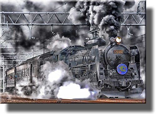 Steam Engine Train, Picture on Stretched Canvas, Wall Art Décor, Ready to Hang!