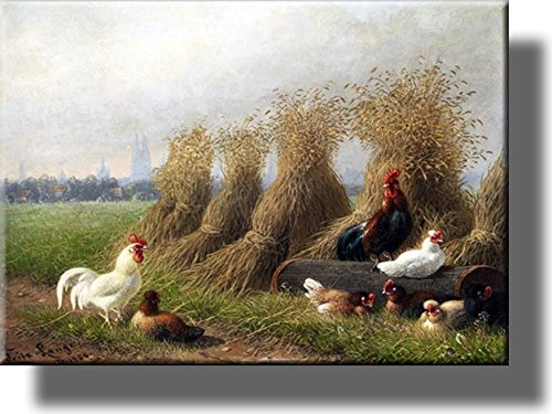Chicken Beside Hay Picture on Stretched Canvas Wall Art Décor, Ready to Hang!