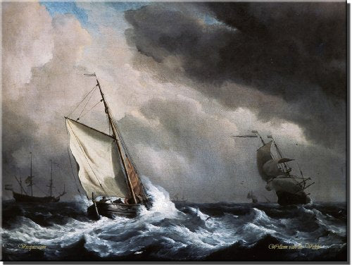 A Ship in High Seas, Velde- Picture on Stretched Canvas Wall Art Decor Sign, Ready to Hang!.