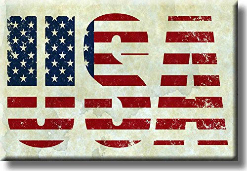 USA Vintage Sign Picture on Stretched Canvas, Wall Art Décor, Ready to Hang!