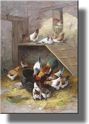 Rooster and Hens in Chicken Coop by Neuville, Picture on Stretched Canvas Wall Art Décor, Ready to Hang!