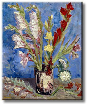 Impressionist Vase and Flowers Painting, Picture on Streched Canvas, Wall Art Décor, Ready to Hang