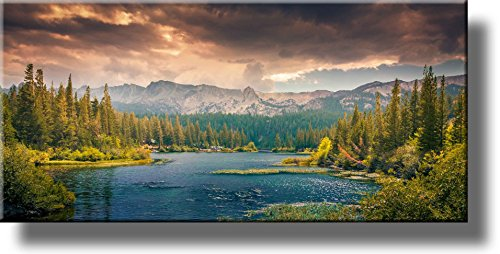 River and Mountains Landscape Picture on Stretched Canvas, Wall Art Décor, Ready to Hang!