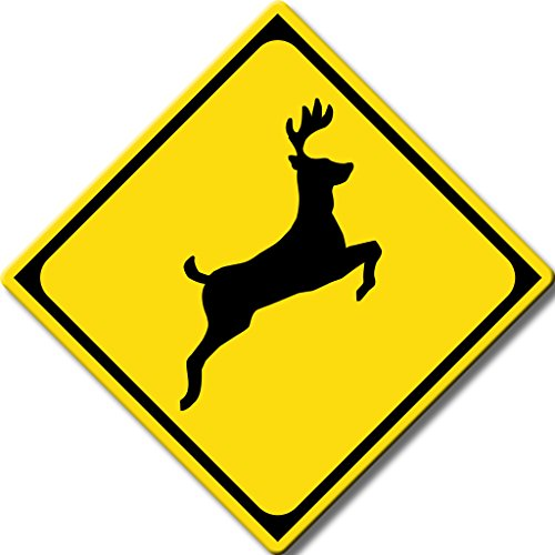 Deer Road Sign Picture on Stretched Canvas, Wall Art Decor, Ready to Hang!