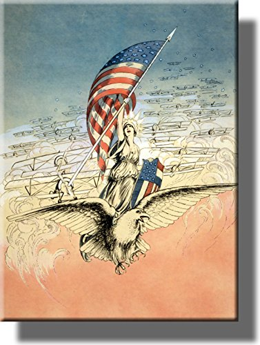 Forward America Poster Vintage Picture on Stretched Canvas, Wall Art Décor, Ready to Hang!