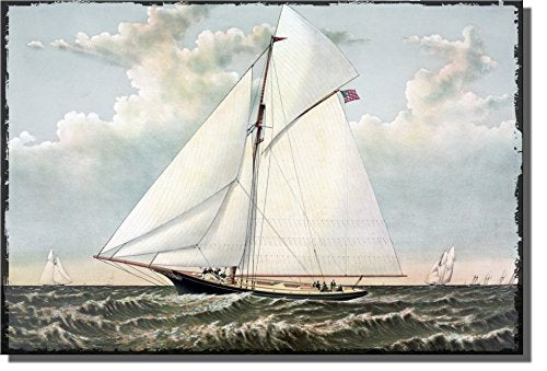American Sail Boat Yacht Picture on Stretched Canvas, Wall Art Decor Ready to Hang!.